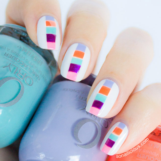 color square block spring nails