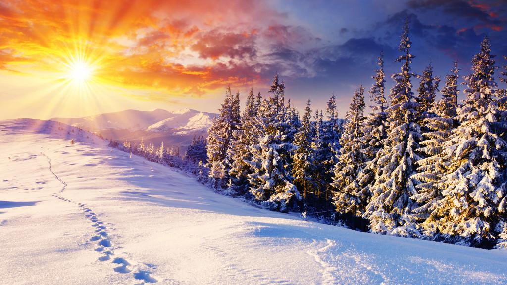 Latest winter wallpaper sunrise at snow mountain Graphics