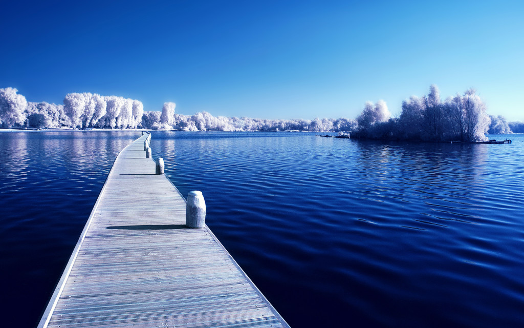 Prefect winter wooden path on lake wide winter wallpapers