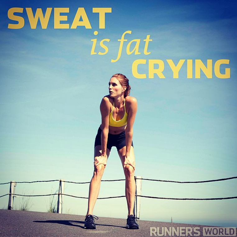 Runners motivation quotes Running makes Sweat is fat crying