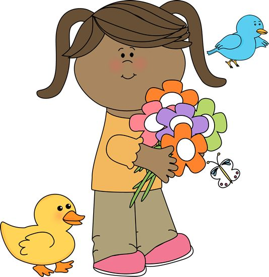 girl with flowers and birds 5 spring clip art kids truly hand picked rh trulyhandpicked com spring clipart for teachers spring clipart flowers