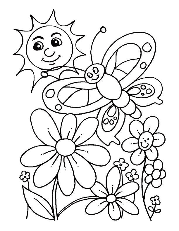Spring Coloring Pages sun butterfly and flowers Truly
