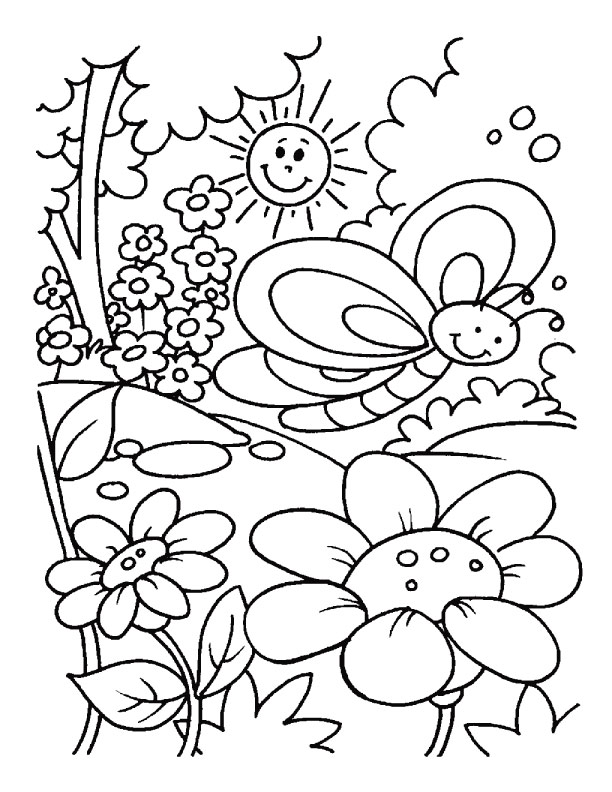 butterfly with sun and flowers garden spring coloring pages