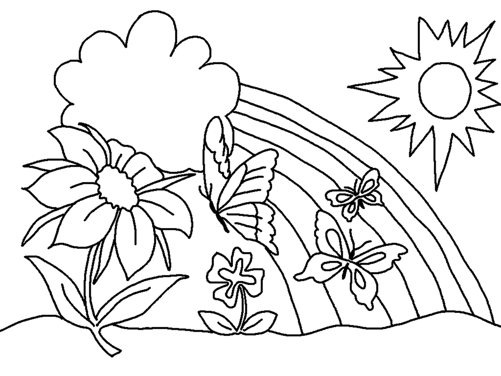 spring coloring pages flowers rainbow clouds sun beautiful