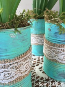 Working with tin cans spring crafts
