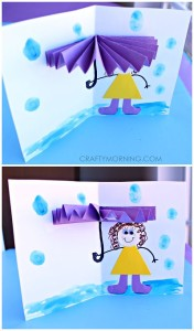 Umbrella craft card spring crafts