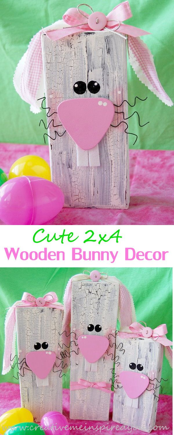 Wooden Bunny Decor Spring Crafts Truly Hand Picked