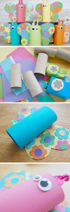Cardboard roll butterfly spring crafts