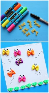 Macaroni butterfly crafts spring crafts
