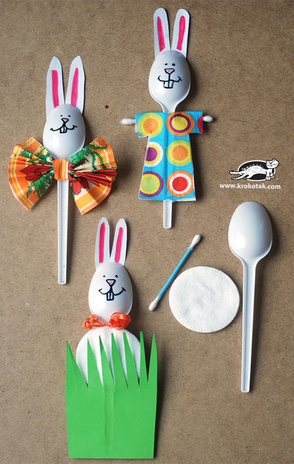 Spring bunny with plastic spoons spring crafts
