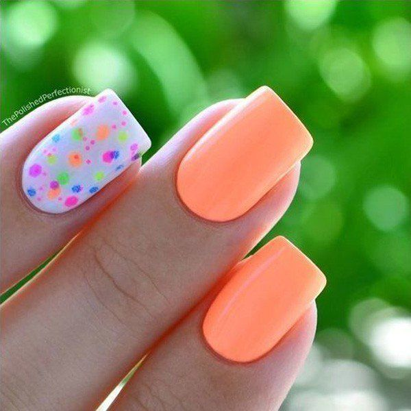 floral and peach spring nails