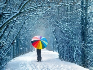 Walking with Colorful umbrella winter wallpapers