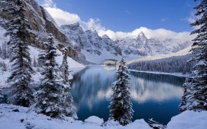Snow mountains and lake winter wallpapers