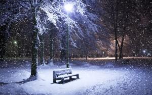 Winter Wallpaper its snowing at night park bench