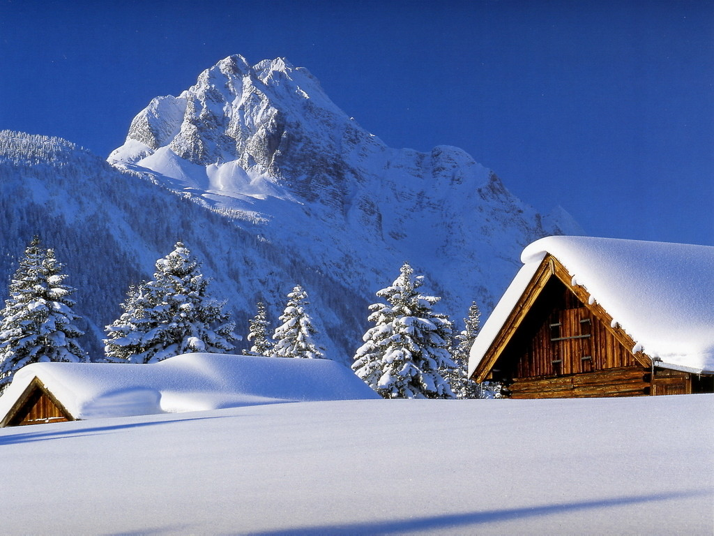 Snow covered on cottage winter wallpapers