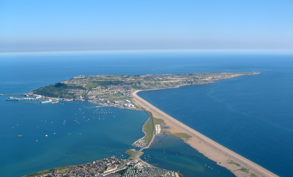 portland from the air Isle of portland