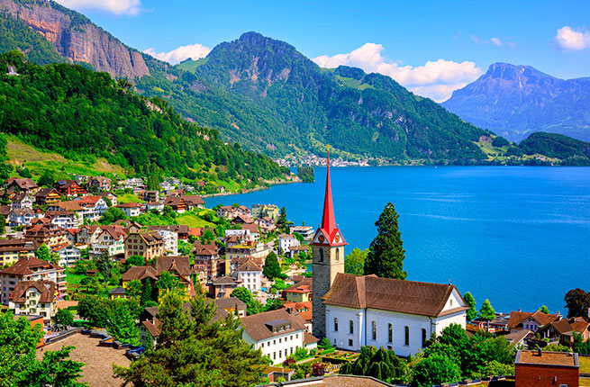 Switzerland Gothic Church Lake Lucerne Alps Mountain