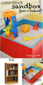 Bookcase into a sandbox outdoor play area