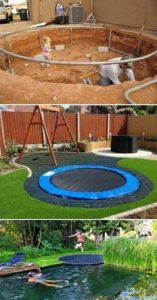 Buried inground trampoline for your kids Outdoor Fun