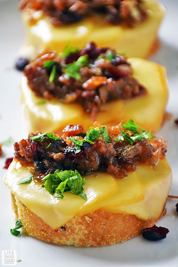 Cranberry Crostini topped with Bacon for New Year Party Food