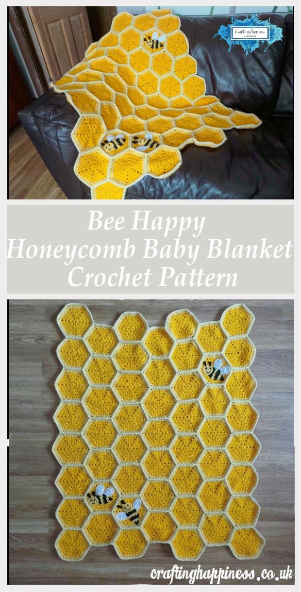 14 Crochet Happy Bee Honeycomb