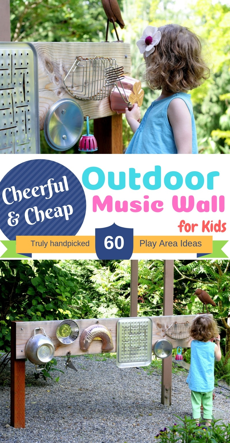 DIY Cheap Outdoor Music Wall for Kids Play Area