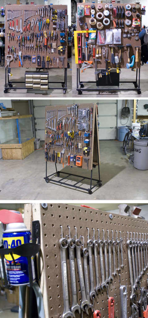 13 Diy Rolling Pegboard Tool Organizer With Doublesided