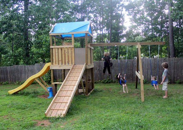 18 EasytoBuild DIY Swing Set with Sliding Track - Truly ...