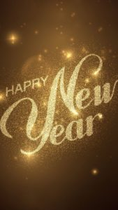 Happy New Year Greetings Gold Dust Whatsapp Status