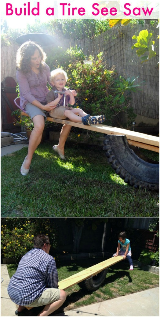 Make a Tire See Saw for Outdoor Play Area