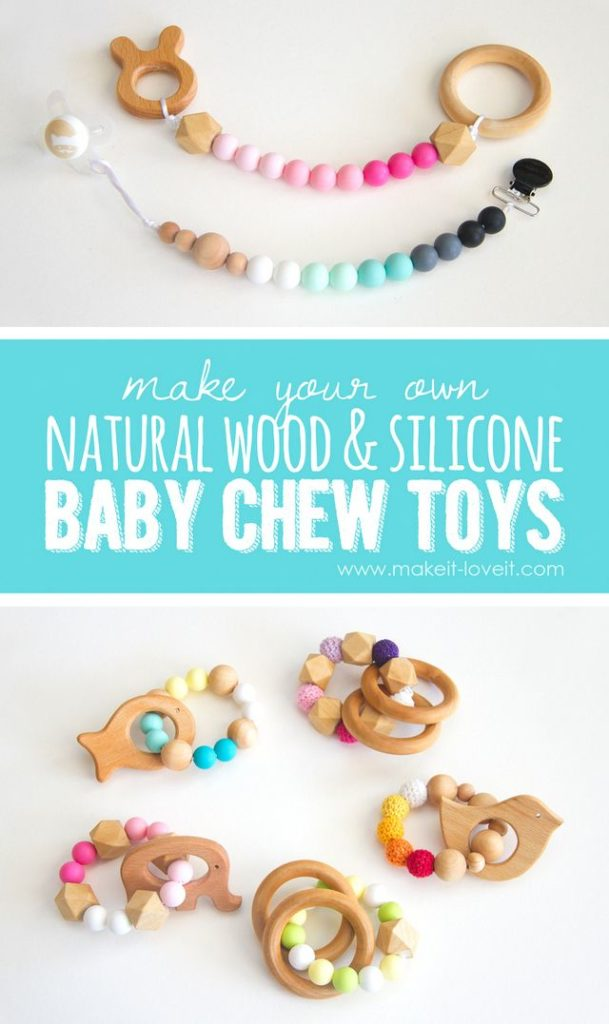 5 Natural Wood Silicon Baby Chew Toys