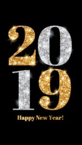 2019 New Year Greetings and Whatsapp Status Gold and Glitter