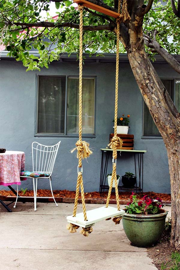 23 Plain DIY Tree Swing with Rope and Wood