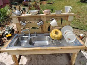 Recycle Pallets for Outdoor Kitchen Sink