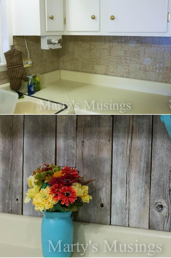 37 Rustic Backsplash from Repurposed Fence Board - Truly