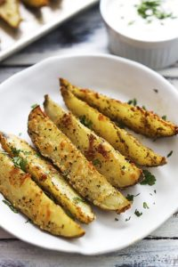 Simple Backed Potato Wedges with Garlic Parmesan