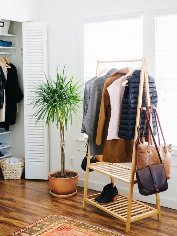 8 Fancy Closet Organization in Minimalism with Three Shelves Garment Rack