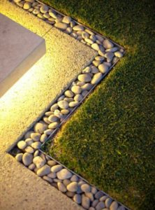 Beautiful Gardening Edging and Lighting Along with River Stones