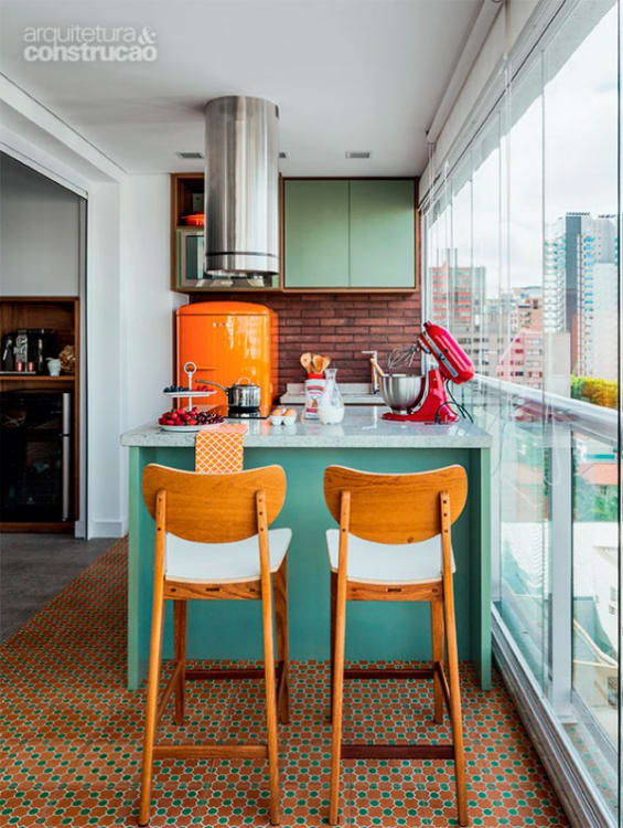 31 Bold and Vibrant Color Contrast with Kitchen Furniture and Wall Color with Lively Flooring Design