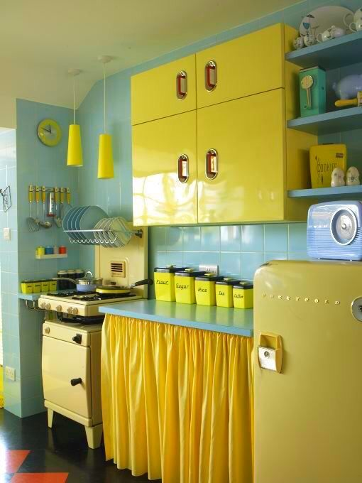 36 Bold Kitchen Cabinet Curtain with Fully Layered Design in Vibrant Yellow Shade Matching with  ...