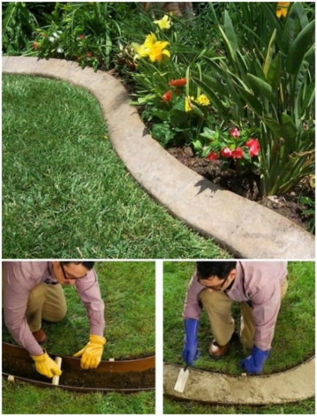 27 Classic Garden Landscaping Idea with DIY Concrete Layer Edging