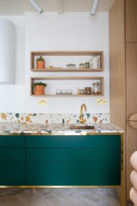 29 Creative Small Kitchen Arrangement with Unique Tiling and OpenDisplay Shelving on TerrazzoLik ...