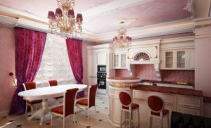 28 Deluxe Kitchen Look with Classic Pink Window Curtain Set designed in Embellished Pattern with ...