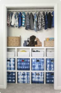 Build inexpensive closet organizer and Use Budget Fabric Bins