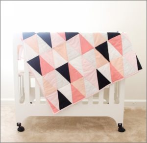 38 DIY Cozy Quilt with Triangle Design in Different Hues with Different Thick Cotton Fabrics