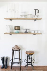 20 DIY Customary Storage Nook with Wooden Shelves Balanced on Iron Rods and having Free Space Un ...
