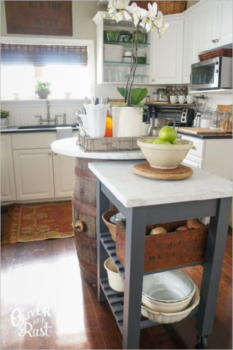 19 DIY IKEA Cart on Wheels with TwoFloored Storage Space for Kitchen Bowl Plates and Towels