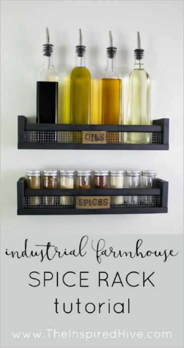 34 DIY IKEA Spice Rack in Rustic WallMounted Style with Apparent Tags and Set near the Cooking A ...