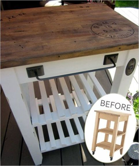 27 DIY IKEA Staple with a Blond Finish and a Smooth Butcher Block on Wheels with Wonderful Count ...