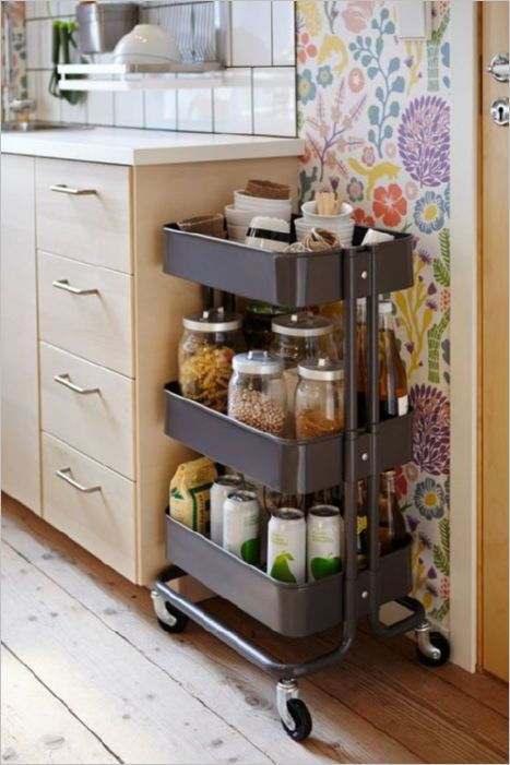 9 DIY Moveable Kitchen Cart on Wheels as the Best Solution for Storing Additional Pantry Items i ...
